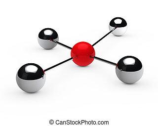 sphère, concept, rouges, direction