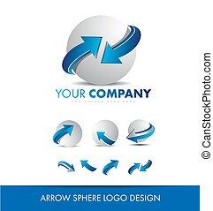 sphère, conception, flèche, logo, 3d, icône