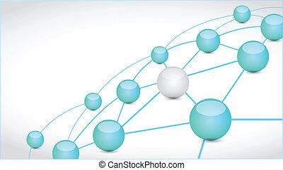 sphère, connexion, lien, technologie, réseau