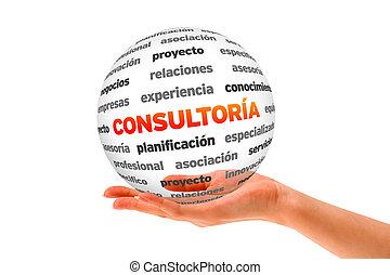 sphère, consultant, tenant main