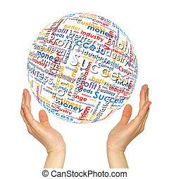 sphère, femme, mots, mains affaires