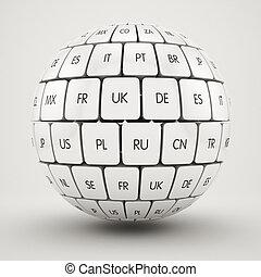 sphère, forme, cubes, groupe, traduction