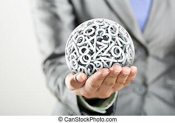 sphère, former, main, nombres, femmes