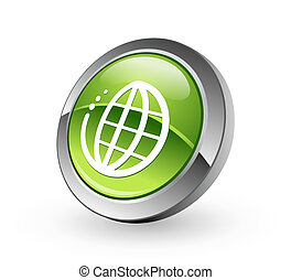 sphère, globe, -, vert, bouton