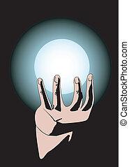 sphère, magie, main