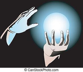sphère, magie, mains