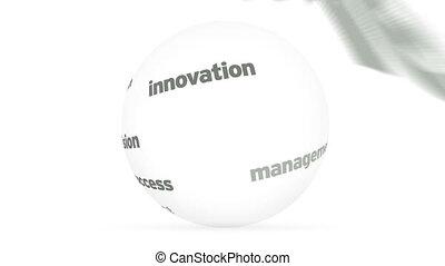 sphère, mot, business, 3d
