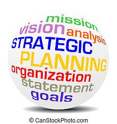 sphère, planification, mot, stratégique
