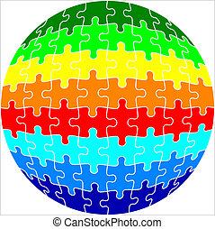 sphère, puzzle, illustration, puzzle, fond, vecteur