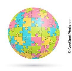 sphère, puzzle, puzzle, isolé, blanc