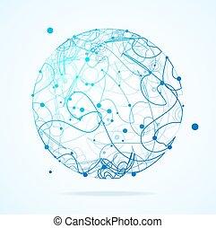 sphère, résumé, polygonal, ligne., vecteur, courbé, géométrique, point