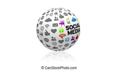 sphère, social, média