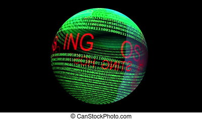 sphère, tourner, texte, données, hosting, binaire