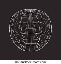 sphère, vecteur, noir, contour, fond
