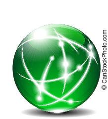 sphère verte, balle, communication