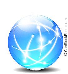 sphères, balle, communication, lignes