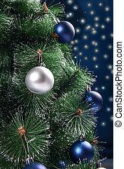sphères, décoré, sapin, noël