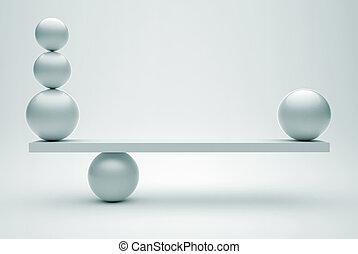 sphères, dans, équilibre