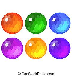 sphères, ensemble, facetté