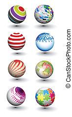 sphères, mettez stylique, coloré