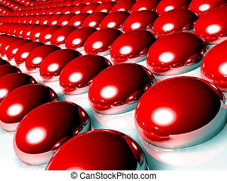 sphères, rouges, 3d