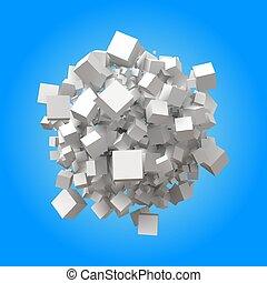 sphérique, aléatoire, tas, cubes