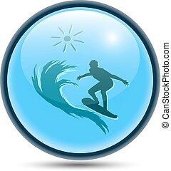 sphérique, eau, recreation., icône