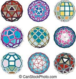 sphérique, ensemble, points, objets, créé, pentagons., orbes, wireframe, lignes, 3d, poly, facette, triangles, connecté, perspective, shapes., géométrique, carrés, vecteur, trigonométrie, bas
