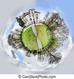sphérique, panorama, parc, przys