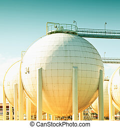 sphérique, réservoir pétrole