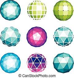 sphérique, toile, différent, fait, polygonal, usage, poly, facets., formes, orbes, objets, vecteur, bas, numérique, collection, utilisation, géométrique, 3d, design.