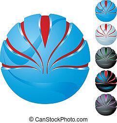 sphere, abstrakt, sæt, ikon