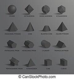 Sphere and Set of Shapes on Vector Illustration
