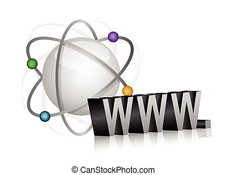 sphere atom and www sign illustration