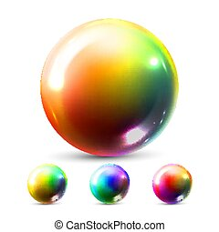 Sphere Ball Vector. Orb Shining. Glow Crystal. Smooth Blank. Web Icon. Glossy Shine Icon. Holographic, Gradient. 3D Realistic Illustration