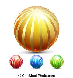 Sphere Ball Vector. Orb Shining. Round Button. Glossy Element. Cirlce Object. Gold, Stone Clear Bubble. Crystal Magic Symbol. Holographic, Gradient. 3D Realistic Illustration