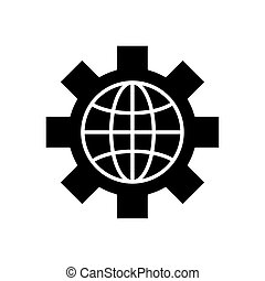 sphere browser with gear silhouette style icon