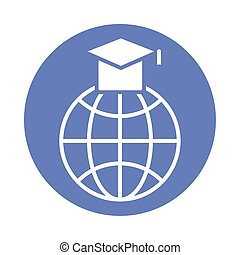 sphere browser with hat graduation block style icon