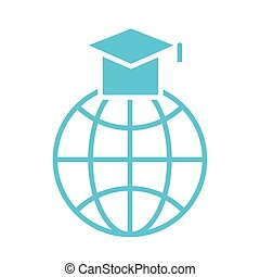 sphere browser with hat graduation silhouette style icon