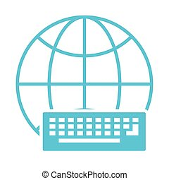 sphere browser with keyboard silhouette style icon
