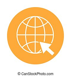sphere browser with mouse pointer block style icon
