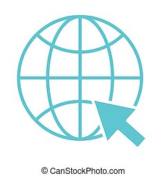 sphere browser with mouse pointer silhouette style icon
