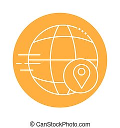 sphere browser with pin location block line style icon