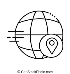 sphere browser with pin location line style icon