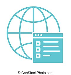 sphere browser with web template silhouette style icon