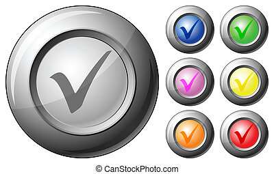 Sphere button check symbol set on a white background. Vector...