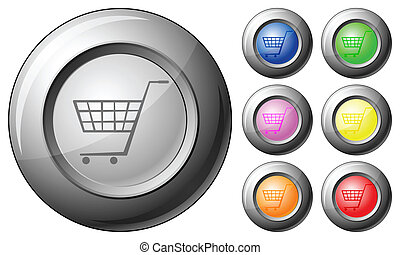 Sphere button shopping cart symbol