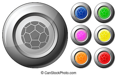 Sphere button soccer