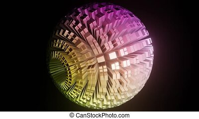 Sphere composed of blocks in pastel colors, ball rotating on black background, light effect, zoom. 3d animation, Full HD movie
