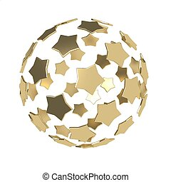 Sphere composition made of golden stars isolated on white background